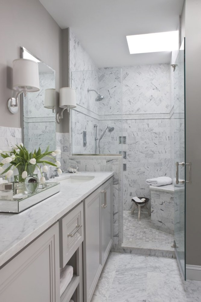 Master Bath, Gray, Carrara Marble, Herringbone Tile inside White Marble Tile Bathroom