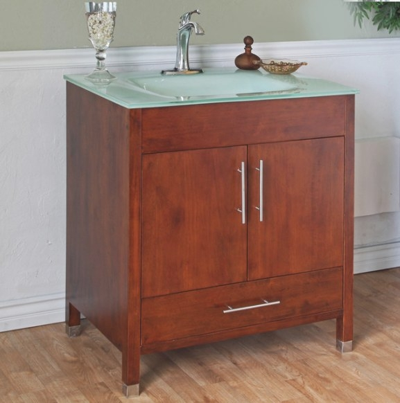 Medium Walnut 32-Inch Single Bathroom Vanity And Sink pertaining to 32 Inch Bathroom Vanity