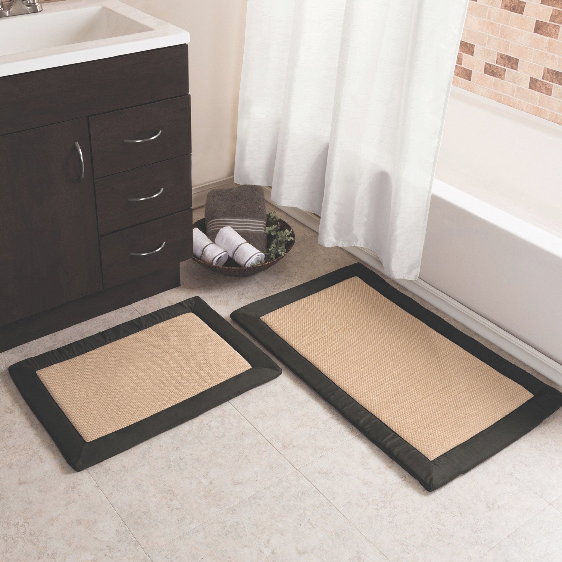 Memory Foam Bath Mats, Set Of 2 — Black And Tan | Www inside Black And Tan Bathroom