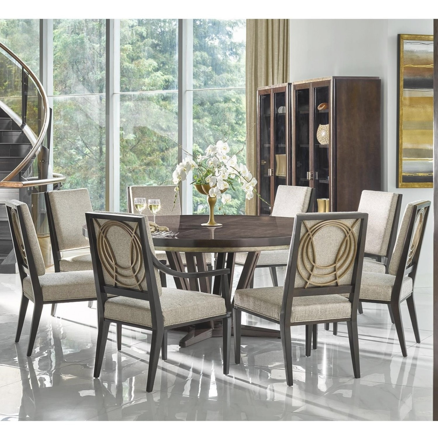 Michael Harrison Deco 9 Piece Dining Set With Round Table pertaining to 9 Piece Dining Set