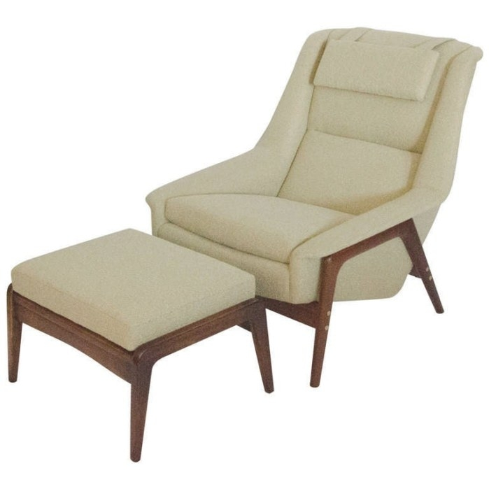 Mid-Century Lounge Chair And Ottoman For Dux, Sweden At inside Mid Century Lounge Chair