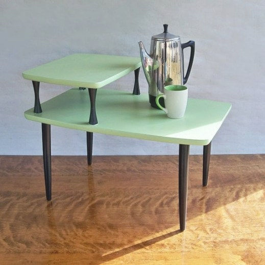 Mid Century Modern 2 Tiered End Table Side Table Melon inside Mid Century Modern Side Table
