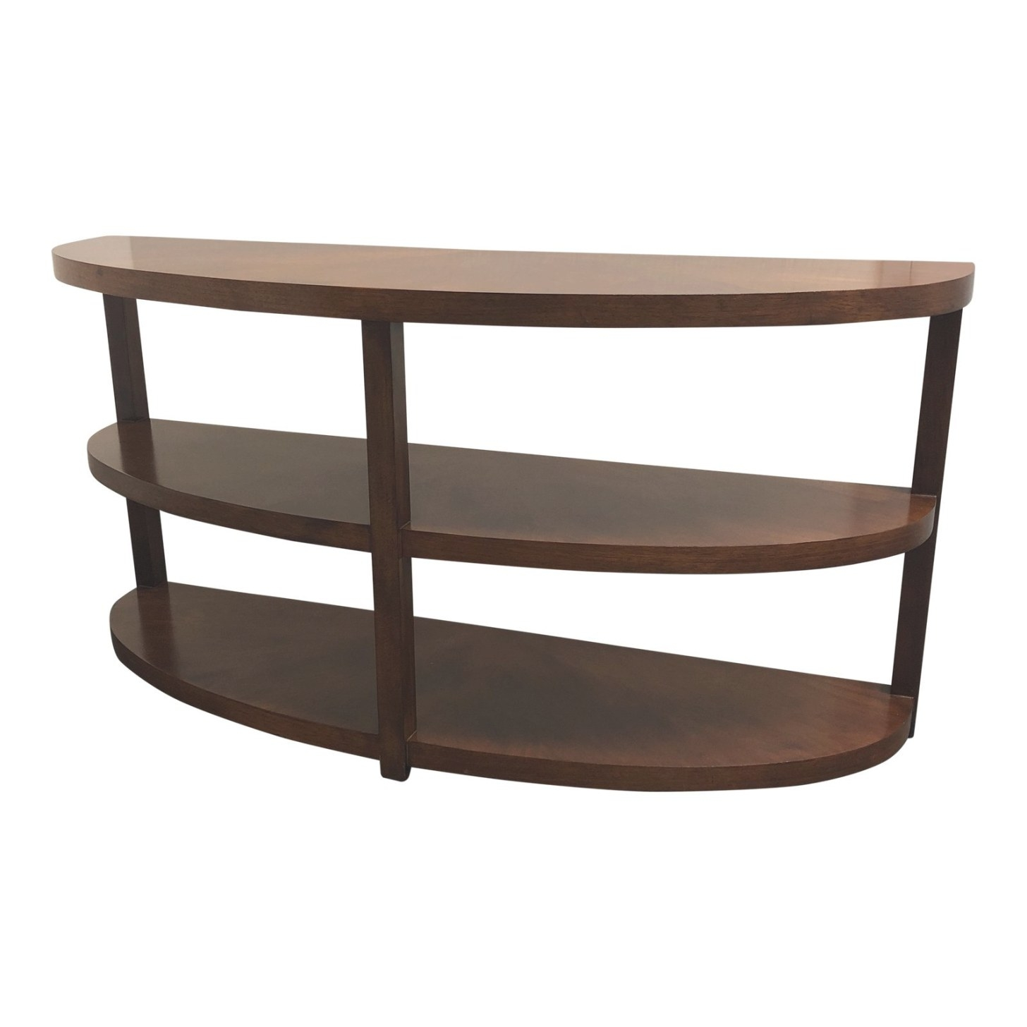 Mid-Century Modern Curved Three-Tiered Wooden Console within Mid Century Modern Console Table