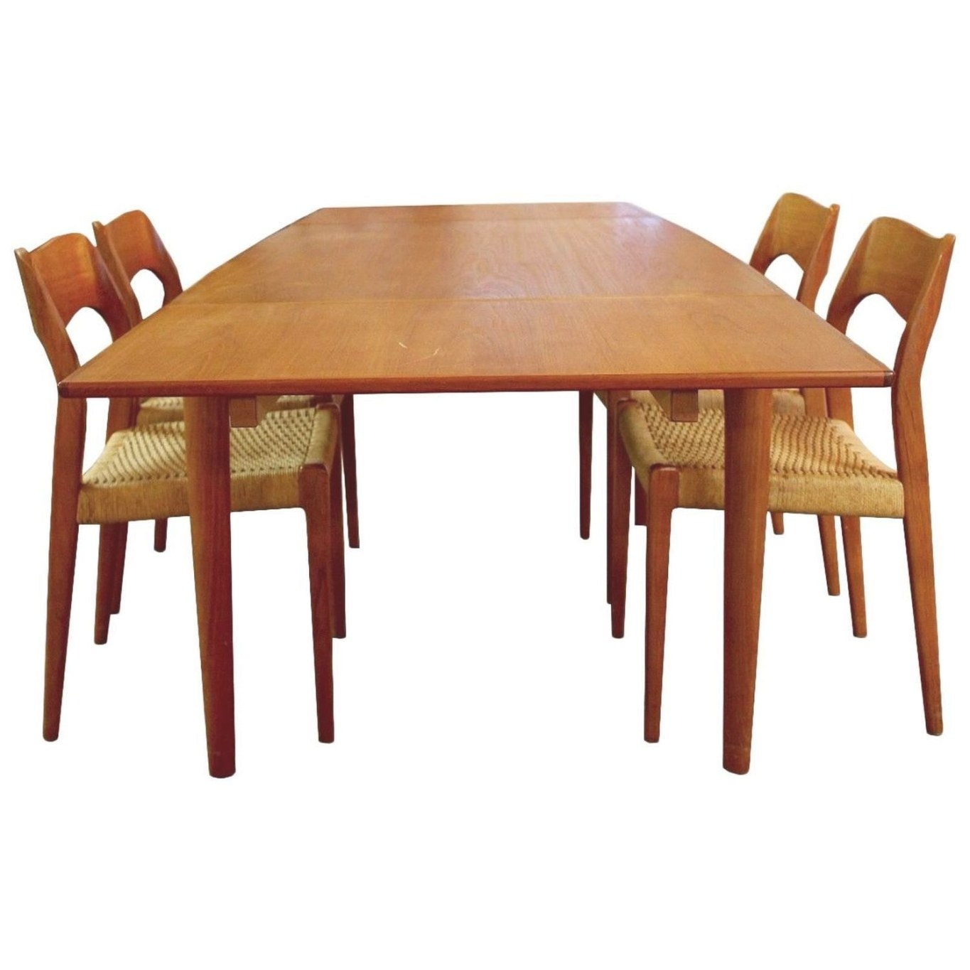 Mid-Century Modern Danish Teak Niels Moller Expandable throughout Mid Century Dining Table