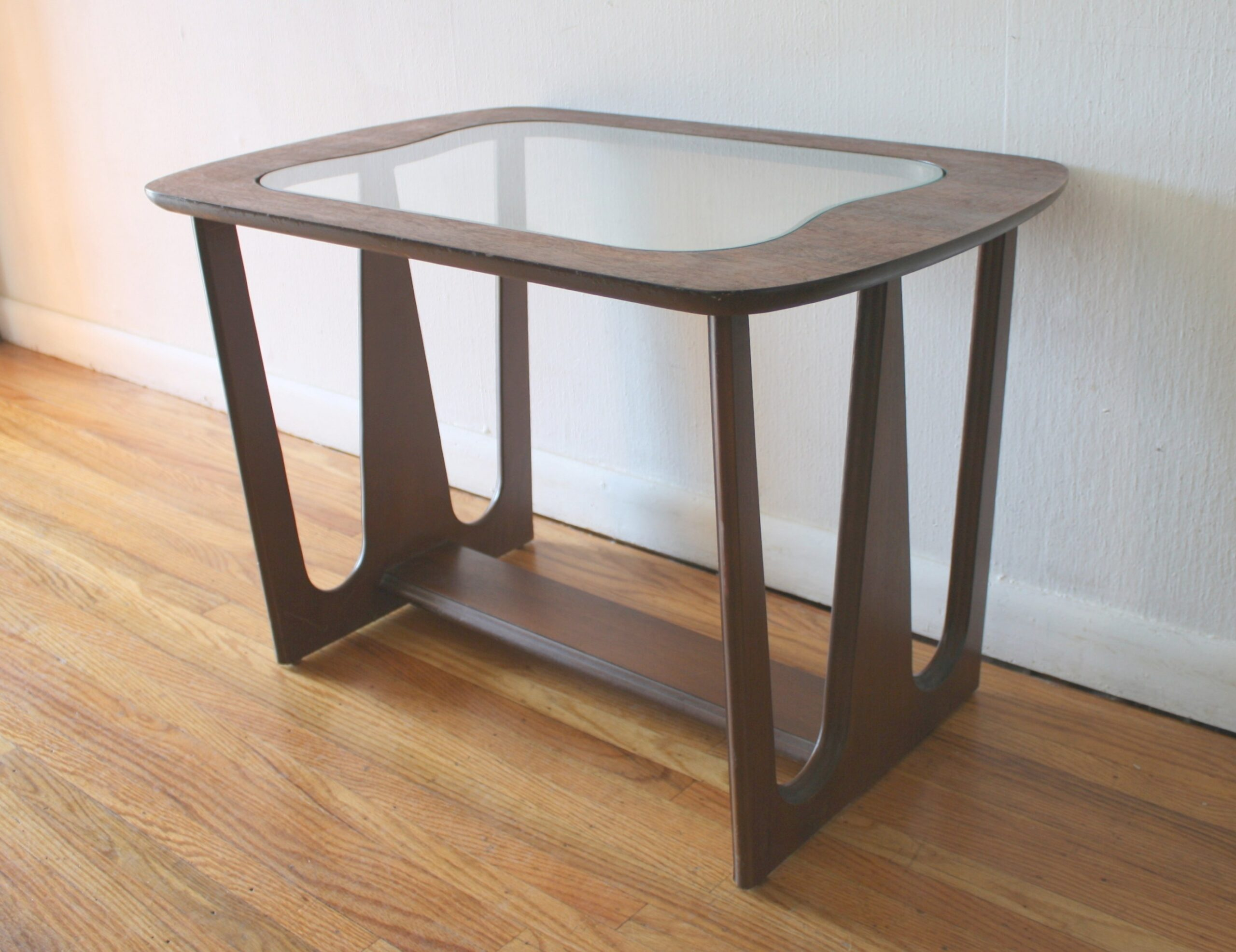 Mid Century Modern Sculpted Side End Tables With Glass for Mid Century Modern Side Table