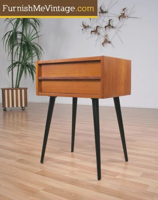 Mid Century Modern Teak Side Table Spindle Legs pertaining to Mid Century Modern Side Table