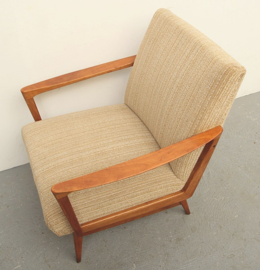 Mid-Century Solid Cherry Wood Lounge Chair, 1950S For Sale in Mid Century Lounge Chair