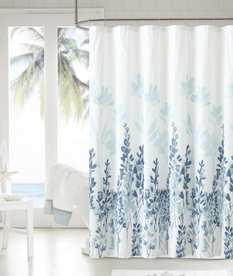 Mirage Teal Blue White Floral Flowers Fabric Bathroom with regard to Teal And Brown Bathrooms