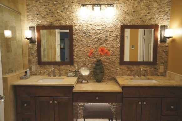 Mocha Onyx Splitface Accent Wall - Traditional - Bathroom throughout Accent Walls In Bathrooms