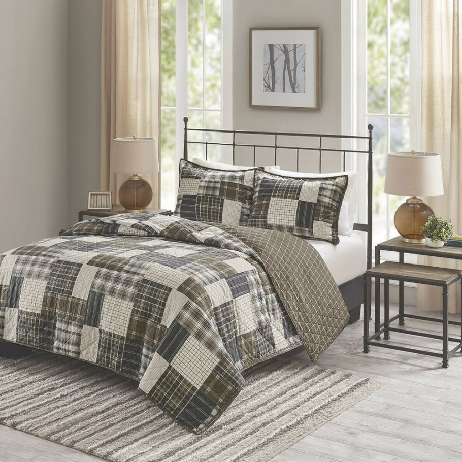 Modern Contemporary Teal Blue Grey White Stripe Comforter regarding Grey And Tan Bedroom