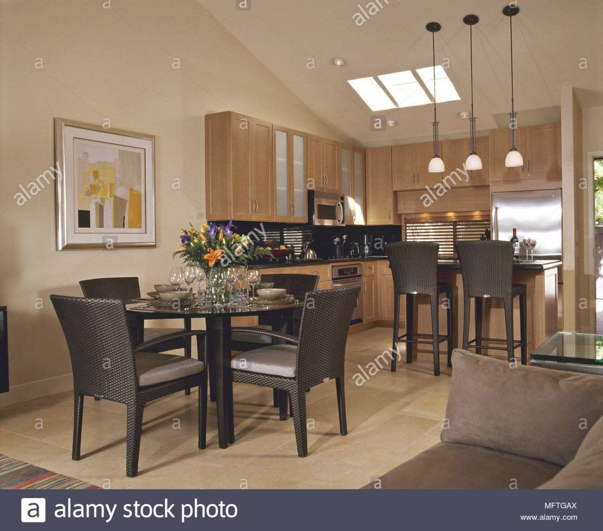 Modern Open Plan Kitchen Dining Sitting Area Wood Units with Sitting Areas In Kitchens