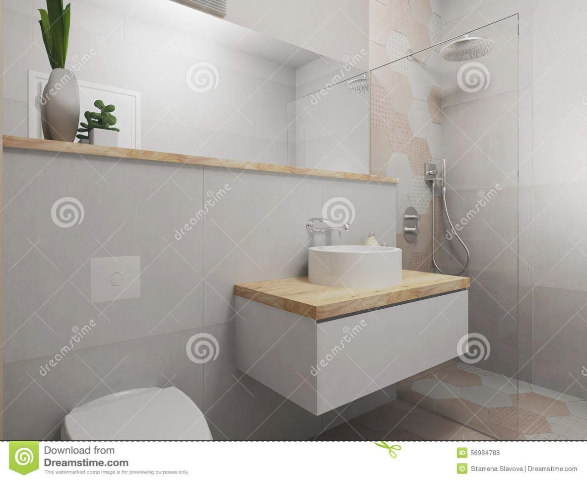 Modern Pink And Grey Bathroom Stock Illustration intended for Pink And Gray Bathroom