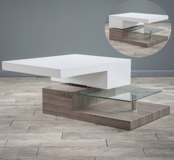 Modern Wood Glass Coffee Table Rectangular Living Room intended for Wood And Glass Coffee Table