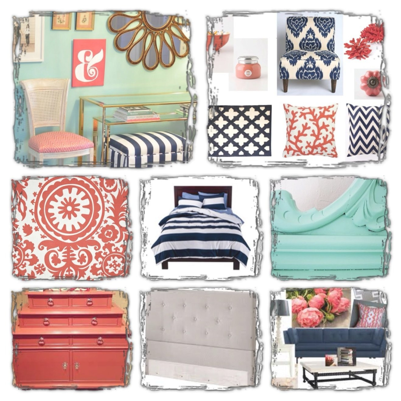 My Bedroom Board.. Navy, Mint And Coral.. | Coral Bedroom throughout Navy And Coral Bedroom