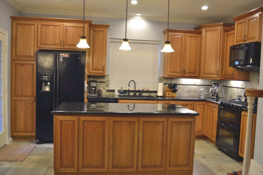 Natural Cherry Custom Kitchen Cabinets intended for Cherry Wood Cabinet Kitchens