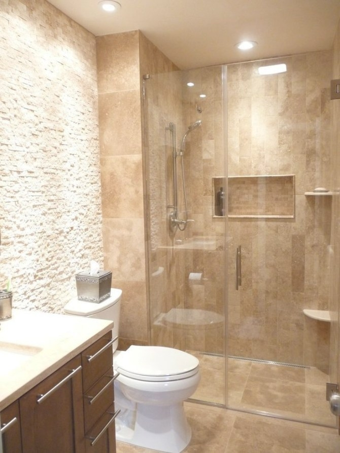 Natural Stone Travertine Bathroom | Natural Stone with Tiled Shower Ideas For Small Bathrooms