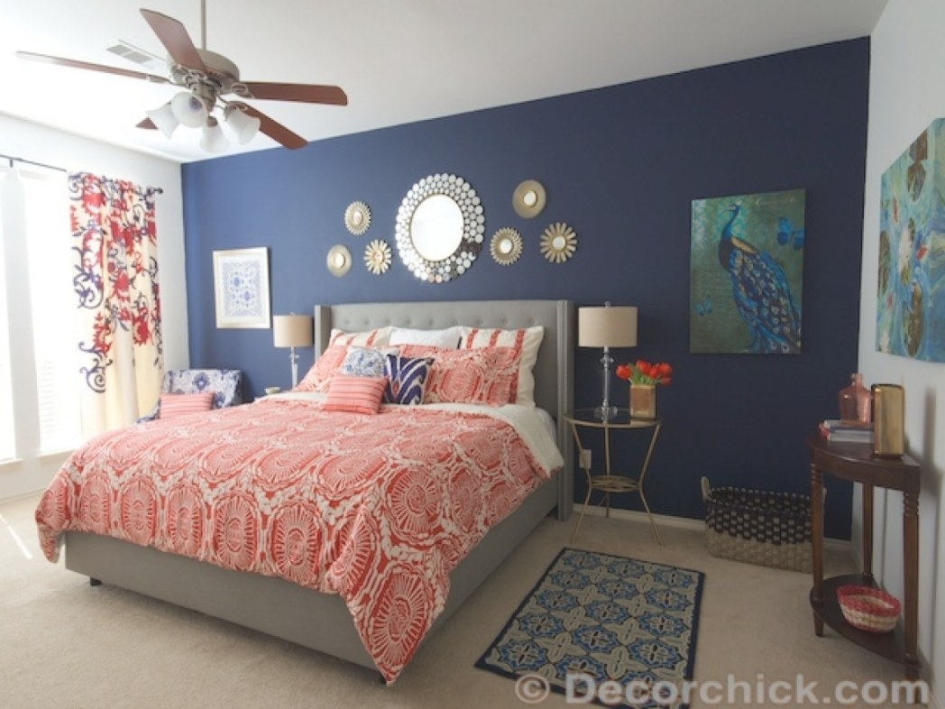 Navy Blue And White Bedroom, Navy Blue And Coral Bedroom pertaining to Navy And Coral Bedroom