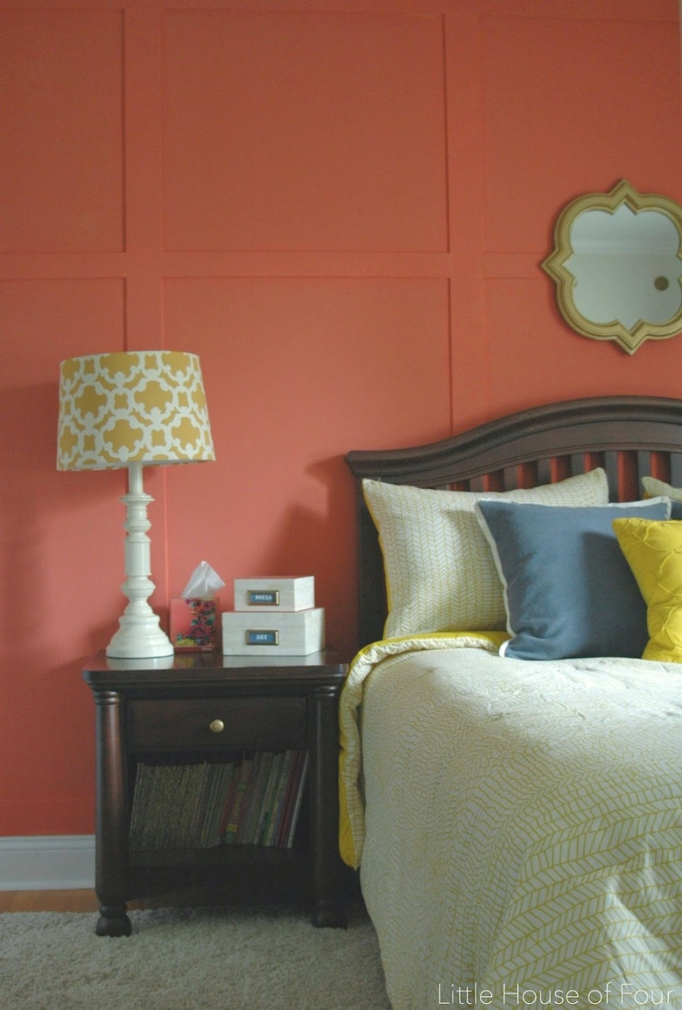 Navy, Coral And Yellow Bedroom Reveal | Little House Of regarding Navy And Coral Bedroom
