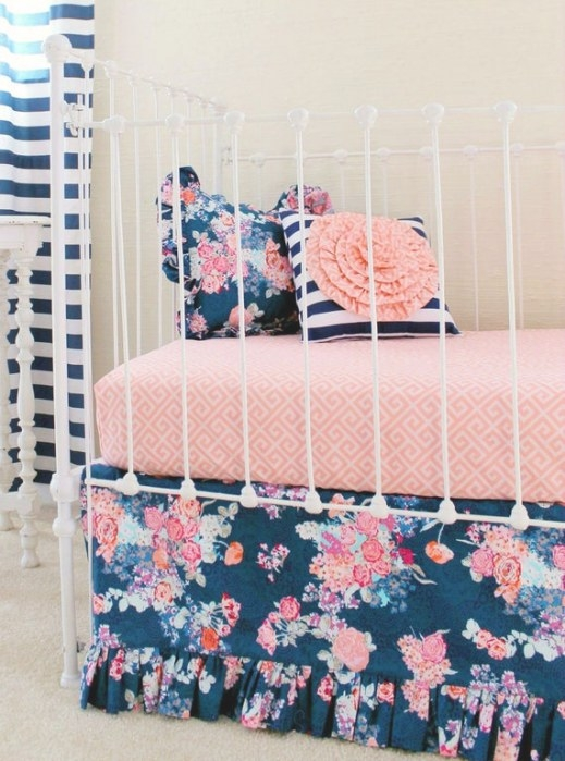 Navy Floral Crib Bedding Baby Girl Bedding Coral And Navy for Navy And Coral Bedroom