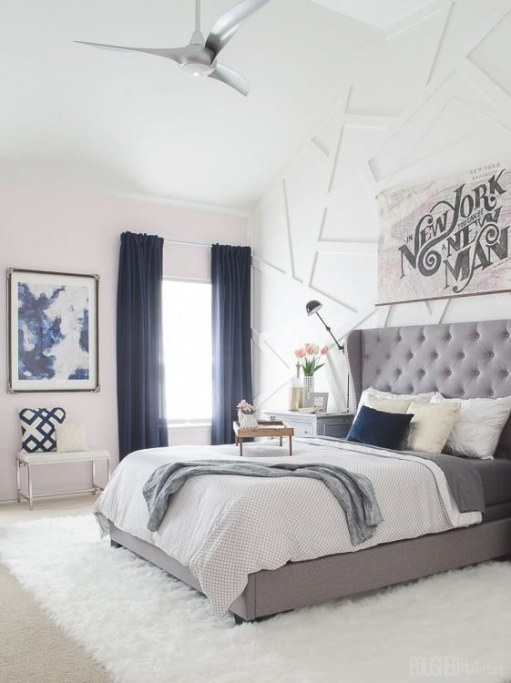 Navy, Gray, White Bedroom | Cozy, Modern Transitional within Blue Grey And White Bedroom