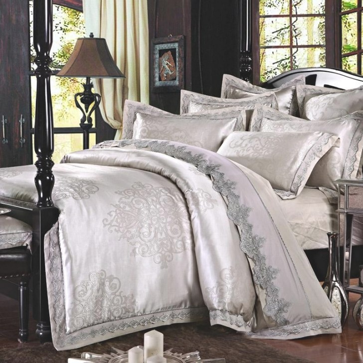 New Silver Silk Luxurious Bedclothes Cotton Bed Sheets for What Size Washer Do I Need For A King Size Comforter