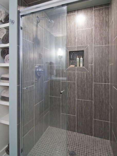 Niche Glass 12X24 Tile | Houzz in 12X24 Tile In Small Bathroom