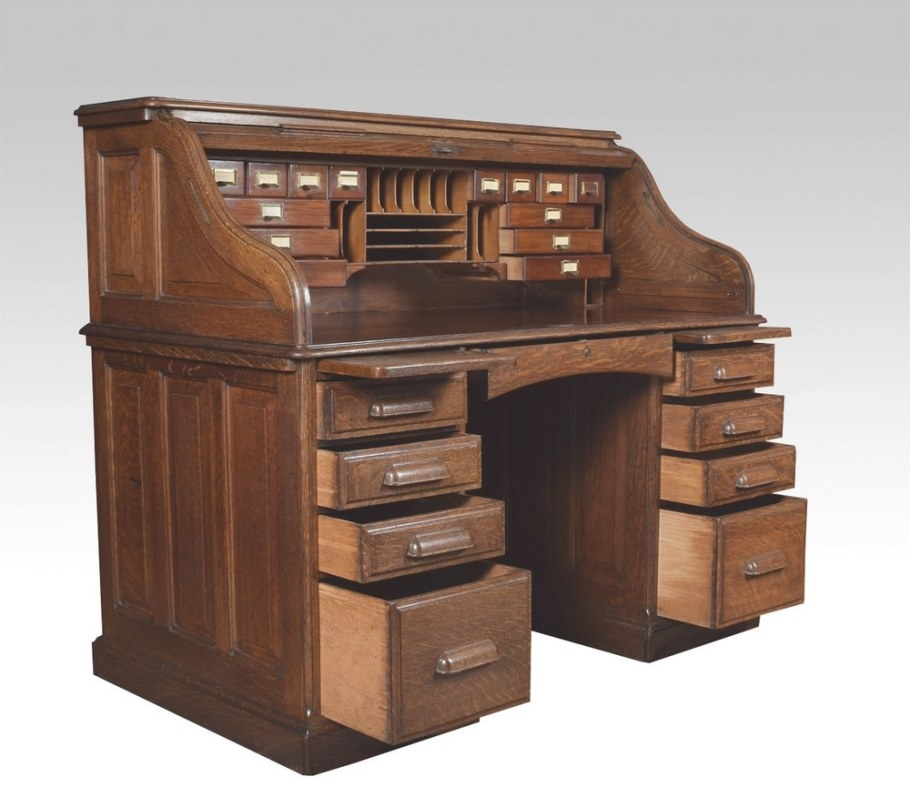 Oak Pedestal Roll Top Desk - Antiques Atlas regarding Oak Roll Top Desk