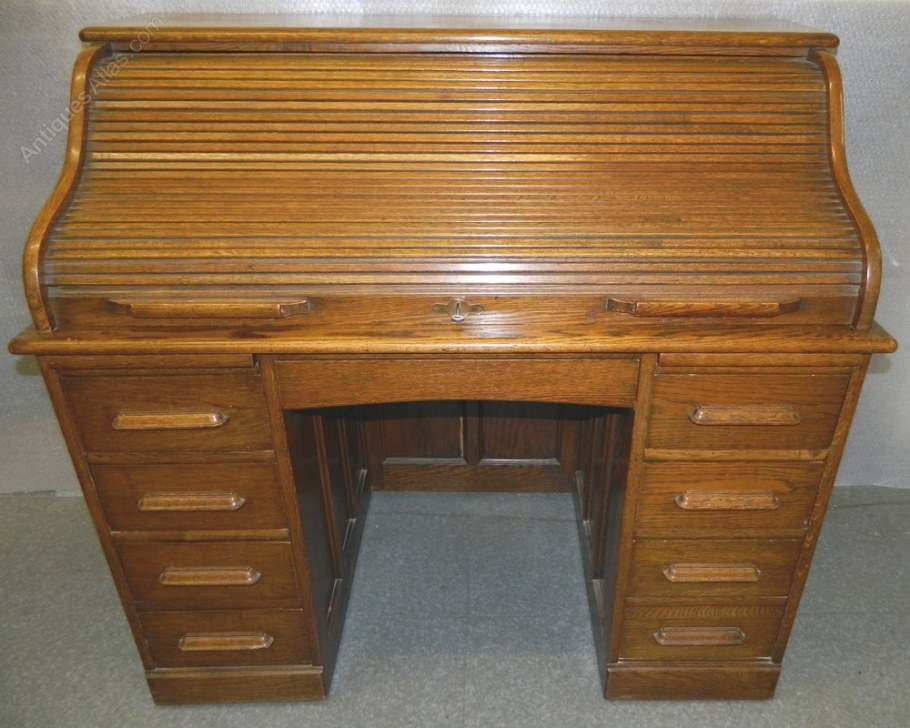 Oak Roll Top Deskangus Of London - Antiques Atlas within Oak Roll Top Desk