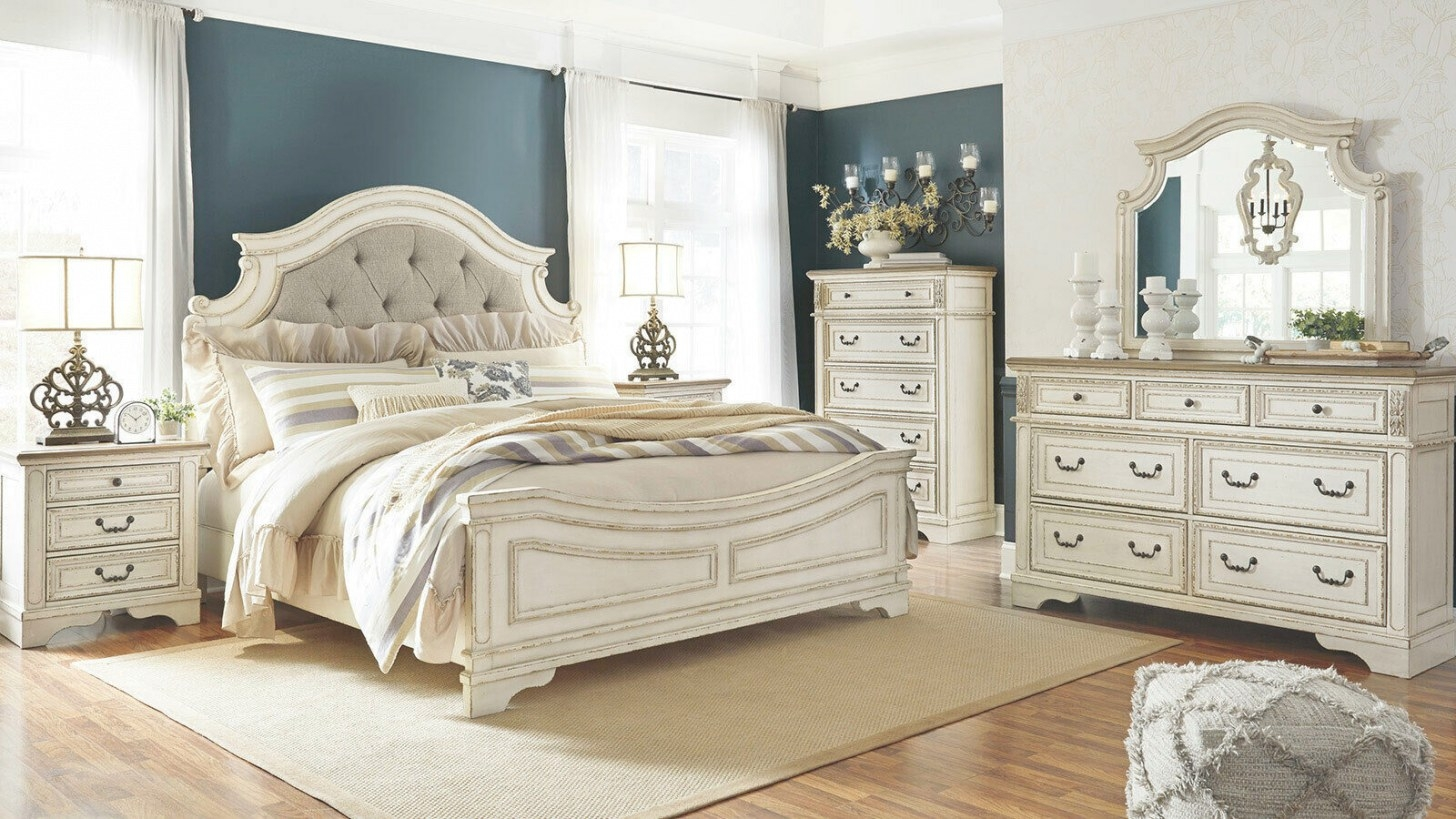 Old World Antique White Wood & Fabric Furniture - Verona within White And Wood Bedroom