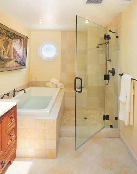 Old World/Contemporary Bath - Eclectic - Bathroom - San in Soaking Tub Shower Combo