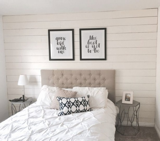 One Afternoon Ship Lap Accent Wall | Plank Wall Bedroom pertaining to White And Wood Bedroom