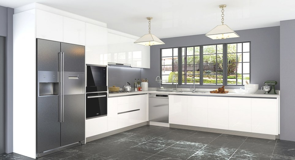 Oppein Kitchen In Africa » L-Shaped White Laminate Kitchen pertaining to L Shaped White Kitchen