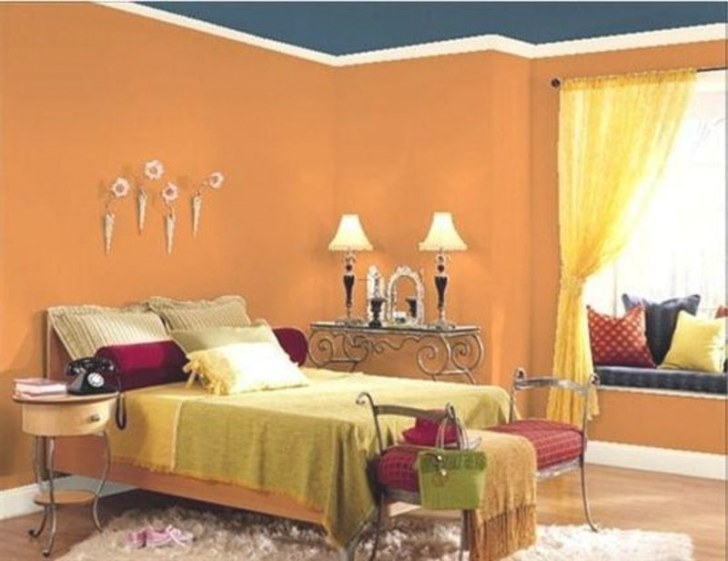 Orange Bedroom Design Ideas Orange Bedroom Wall Paint throughout Blue And Orange Bedroom
