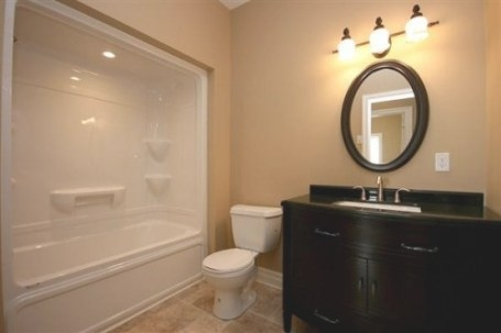 Our Bathroom Will Be Very Similar To This One Except The inside Black And Tan Bathroom