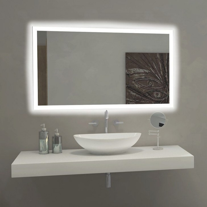 Paris Mirror Rectangle Bathroom Mirror With Led Backlights with Led Lighted Mirrors Bathrooms