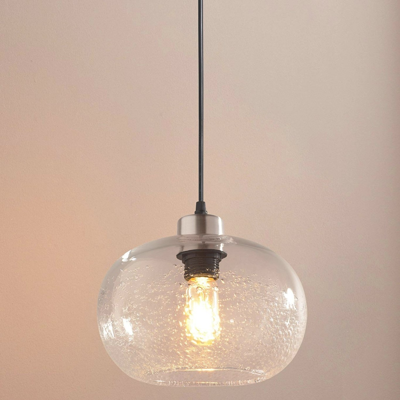 Pendant Lighting Handblown Seeded Glass Drop Ceiling for Seeded Glass Pendant Light