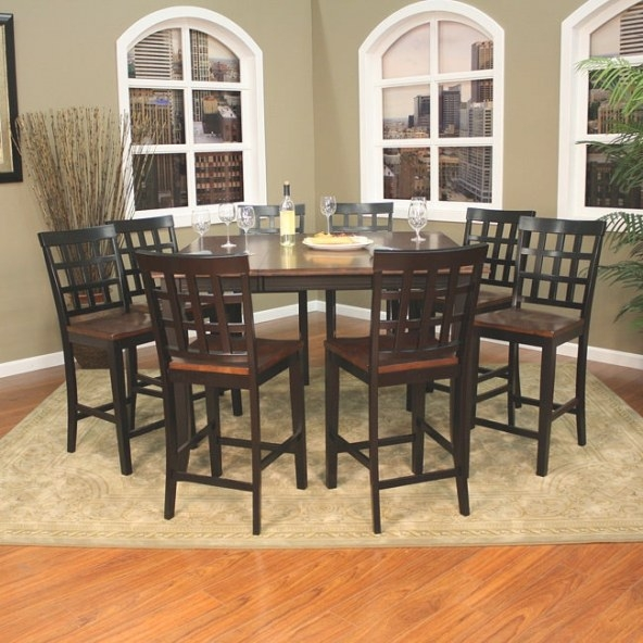 Pennie 9-Piece Butterfly Leaf Counter-Height Dining Set intended for 9 Piece Dining Set