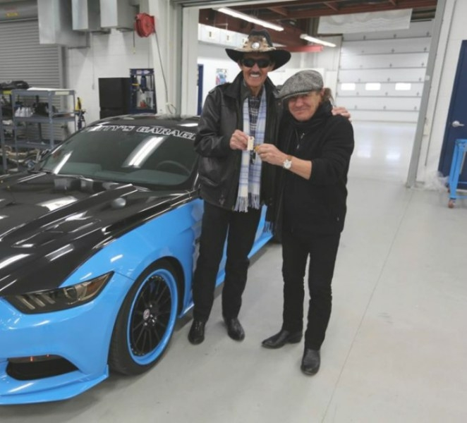 Petty's Garage Mustang Gt Detailed, Ac/Dc Singer Brian inside Richard Best Custom Homes