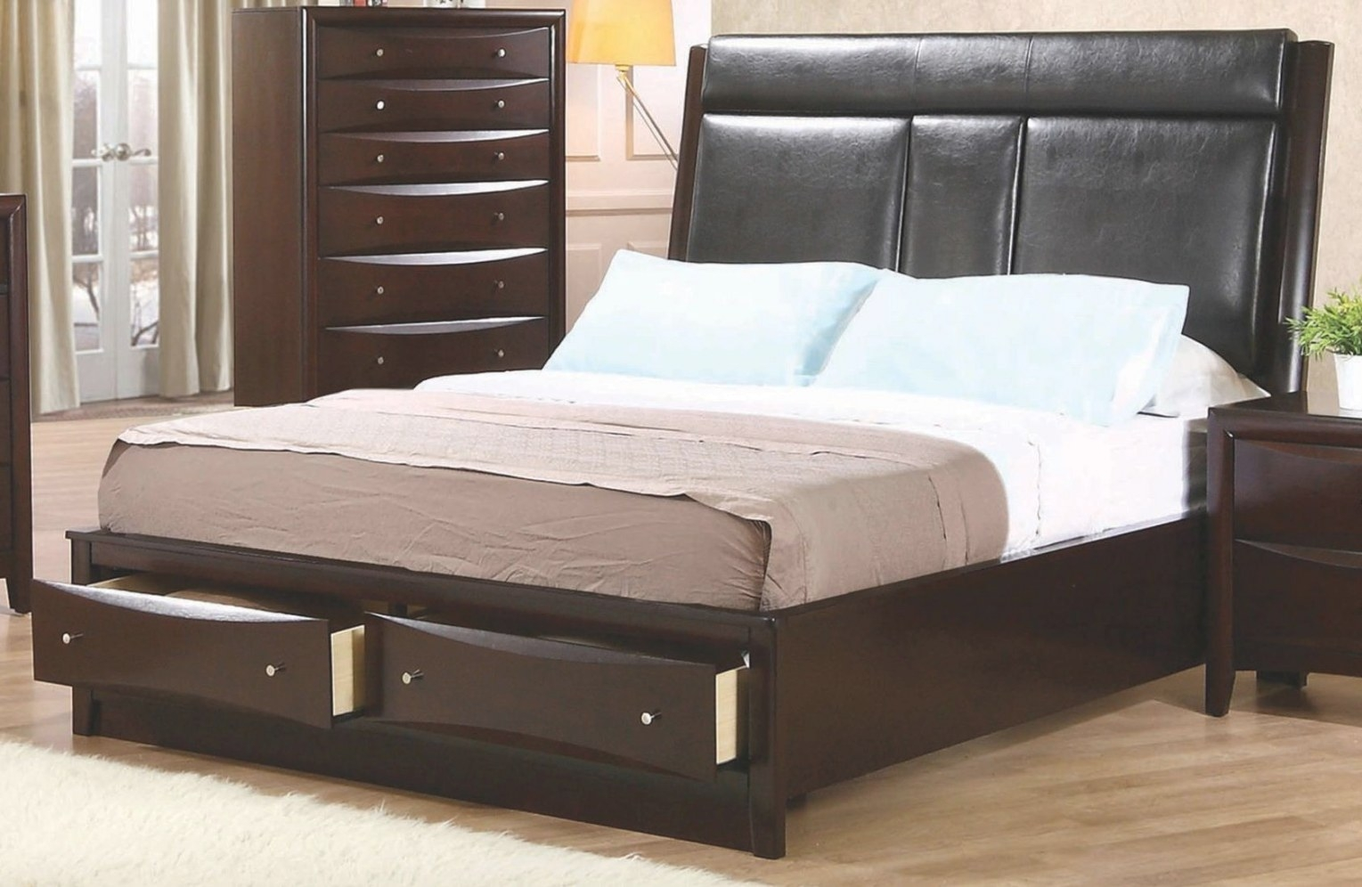 Phoenix Queen Upholstered Storage Platform Bed From with regard to Queen Bed With Storage