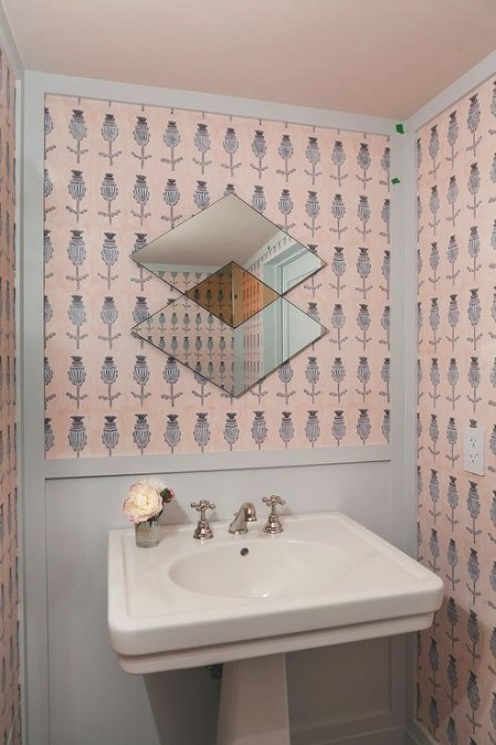 Pink And Gray Powder Room Wallpaper - Transitional - Bathroom throughout Pink And Gray Bathroom