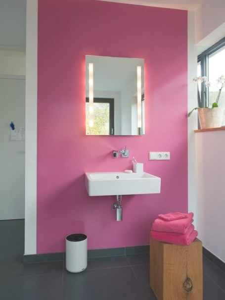 Pink Bathroom And Cloakroom With Grey Tiles Design Ideas inside Pink And Gray Bathroom