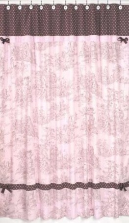 Pink Brown Toile French Country Bath Fabric Shower Curtain with Pink And Brown Bathroom