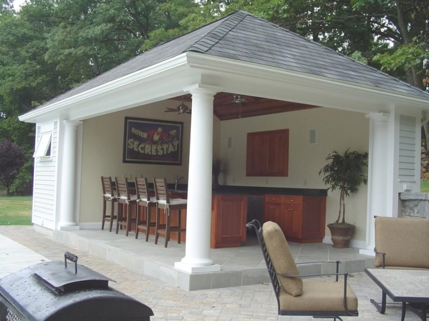 Popular Pool House Designs And Popular Pool Side Cabana pertaining to Prefab Guest House With Bathroom And Kitchen
