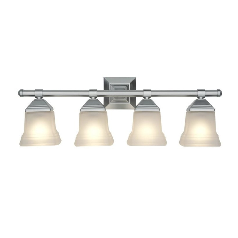 Portfolio 4-Light 26.9-In Brushed Nickel Bell Vanity Light with regard to Bathroom Vanity Lights Brushed Nickel