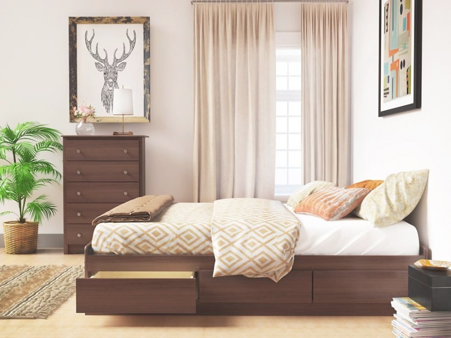 Prepac Cherry Tall Queen Captain'S Platform Storage Bed inside Platform Bed With Storage