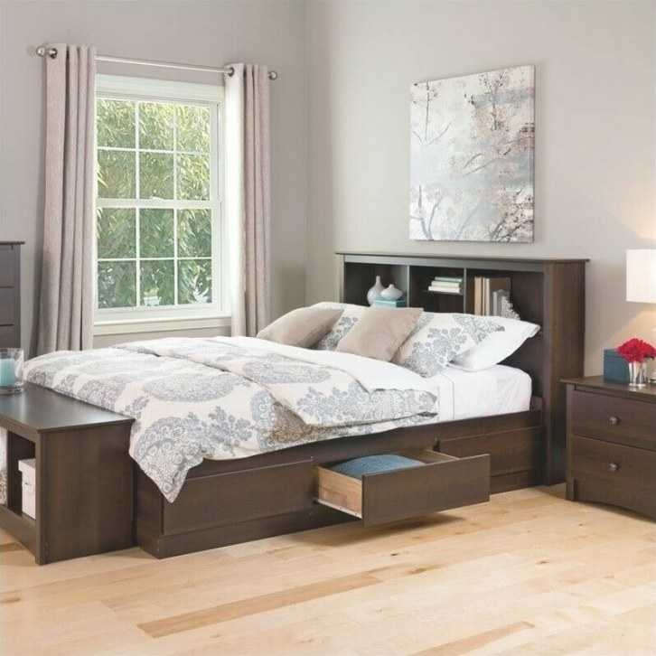 Prepac Coal Harbor Queen Platform Storage Bed With within Queen Bed With Storage