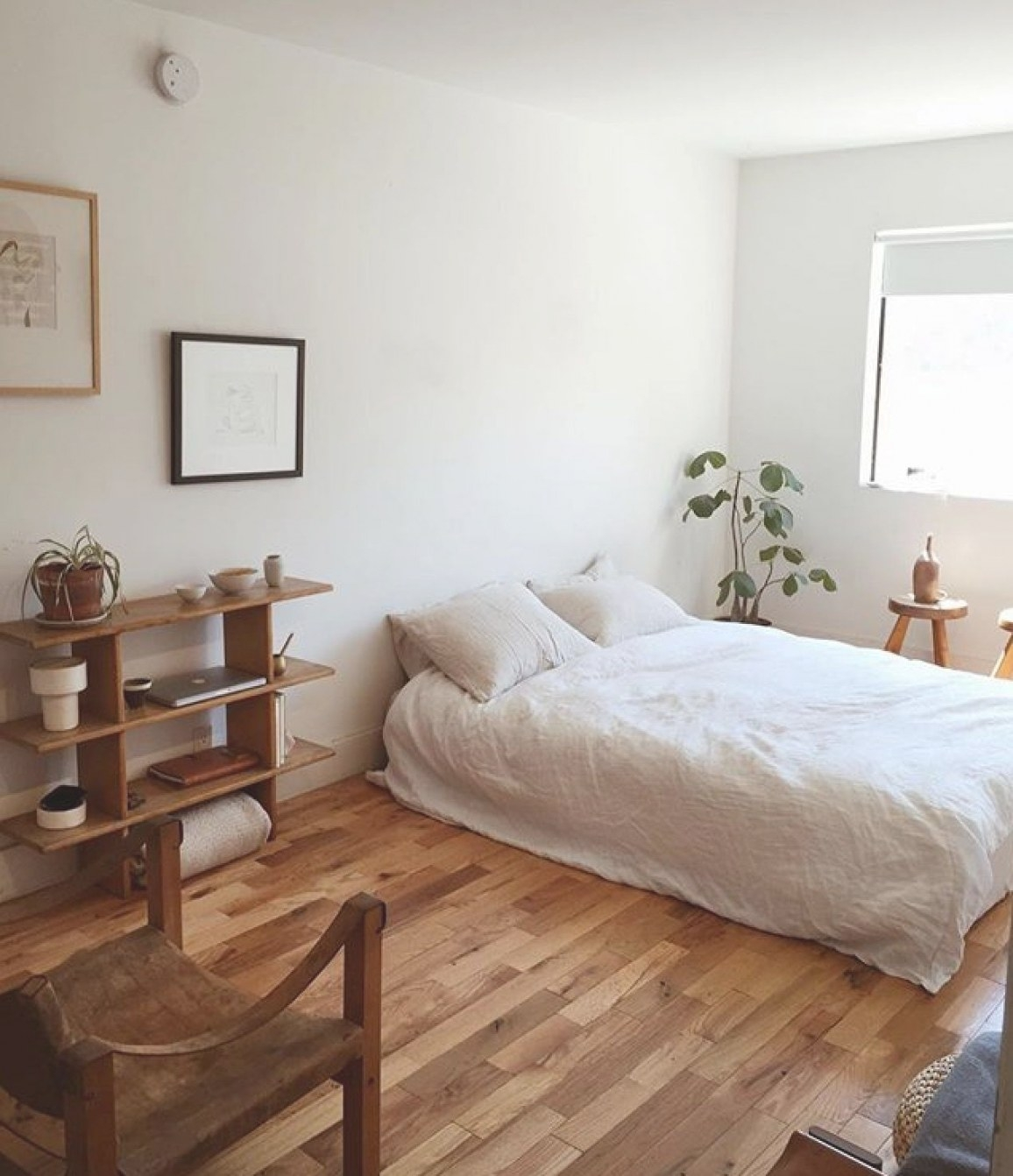 Pretty Simple Room, White And Wood | Minimalist Bedroom regarding White And Wood Bedroom