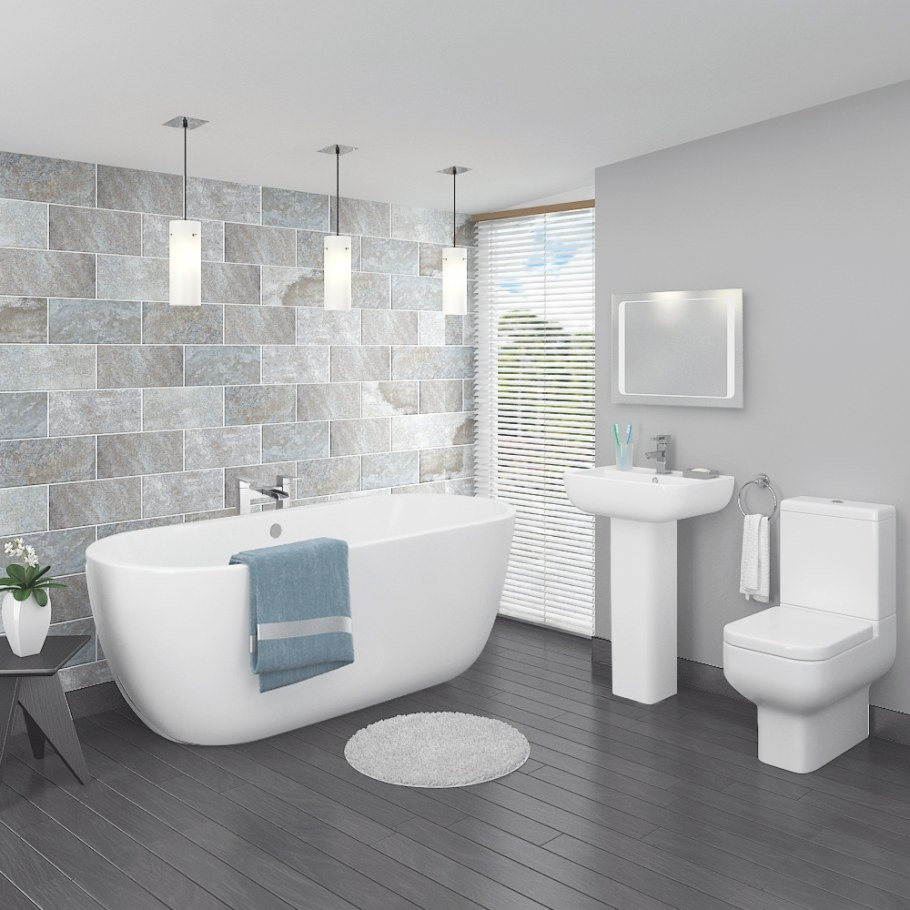 Pro 600 Modern Free Standing Bath Suite | Now At Victorian within Free Standing Tub Shower