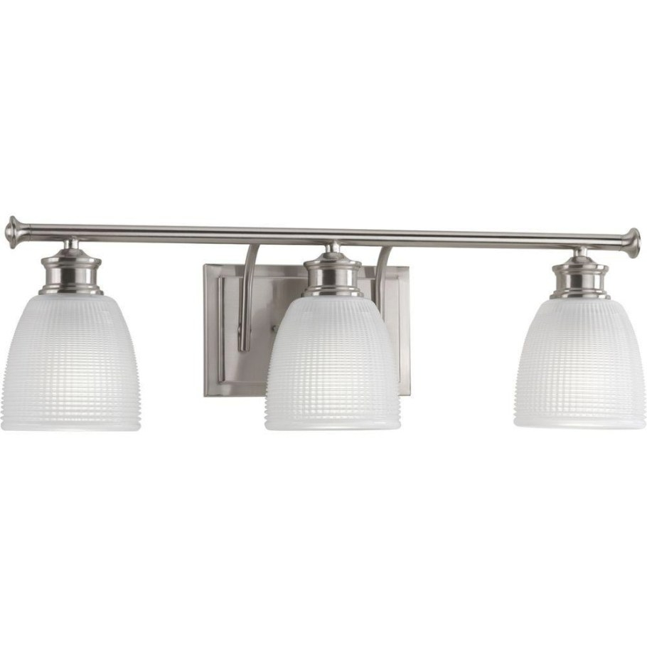 Progress Lighting Lucky Collection 3-Light Brushed Nickel with Bathroom Vanity Lights Brushed Nickel