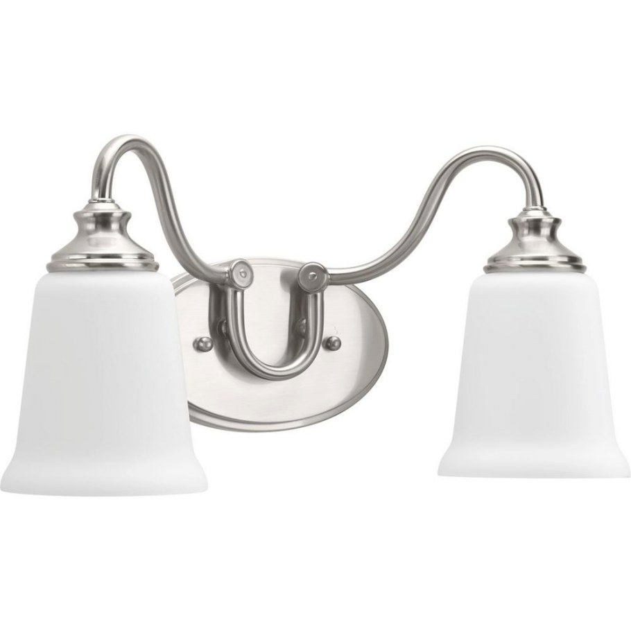 Progress Lighting Wander Collection 2-Light Brushed Nickel inside Bathroom Vanity Lights Brushed Nickel